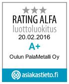 Luottoluokitus korkea Oulu